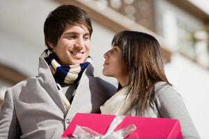 Young couple with a gift