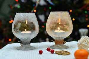 Новогодние подсвечники из бокалов своими руками