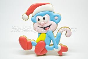 Новогоднее печенье с глазурью обезьянка