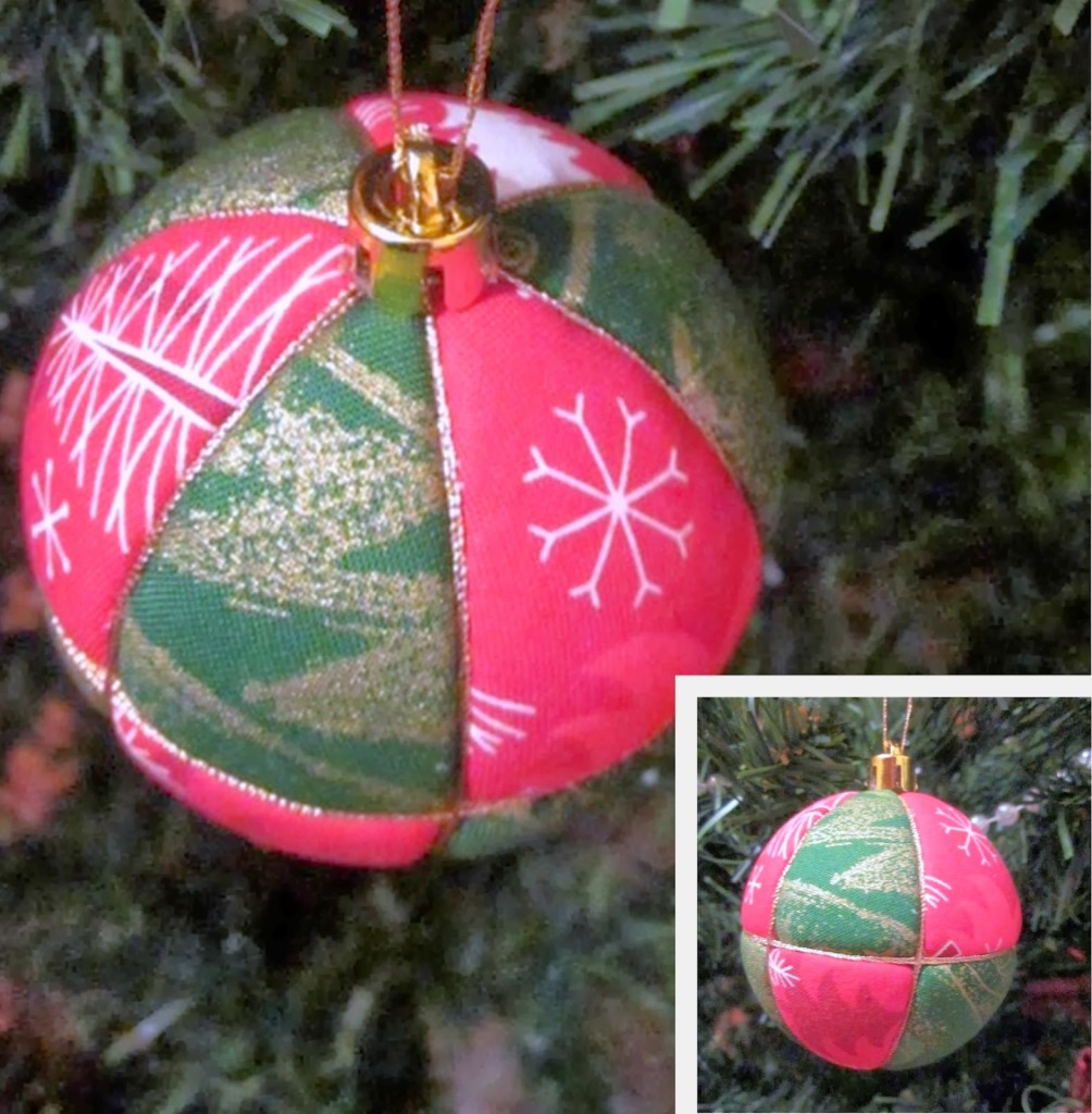 шар на елку из пенопласта и ткани