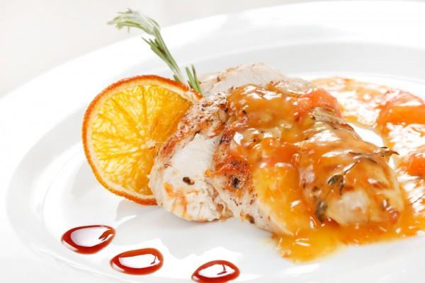 Куриное филе в карамели из апельсина
