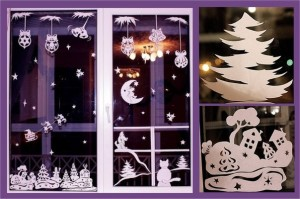 Трафареты на окна к Новому году для вырезания