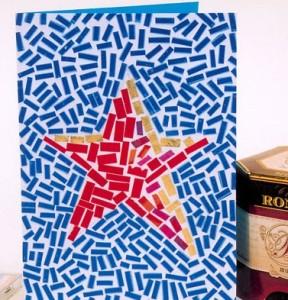 Открытка со звездой из прямоугольных кусочков бумаги