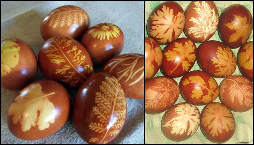 Окрашивание яиц луковой шелухой с рисунком