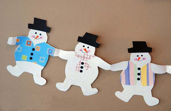 for Snowman paper chain template