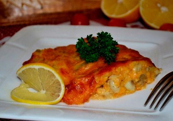 Рыбное филе с сыром и соусом Бешамель