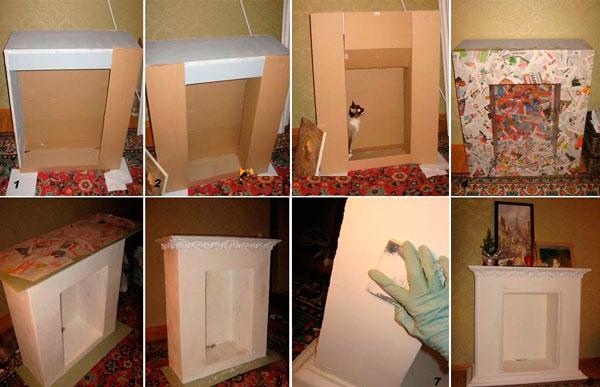 Как сделать новогодний камин из коробок