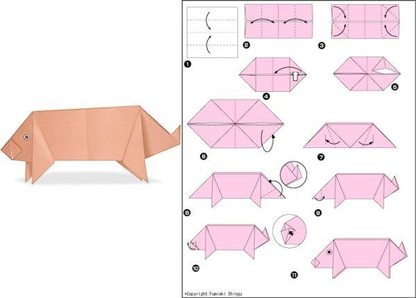 Очаровательные свинки в технике оригами
