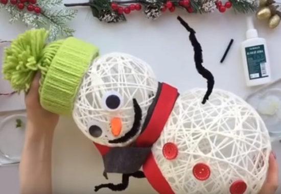 Снеговик из пряжи8