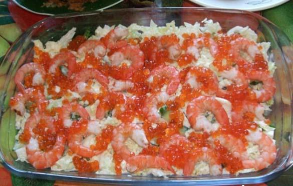 рецепты салатов с креветками и с красной икрой