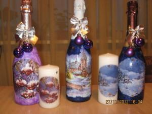 Как украсить бутылку своими руками к 23