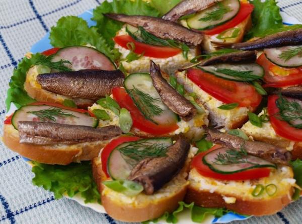 Бутерброды со шпротами на праздничный стол рецепты