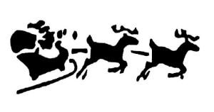 сани с оленями трафарет