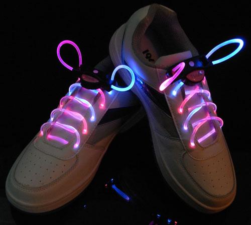 Светодиодные шнурки - 3 режима свечения цвет микс