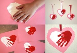 Валентинка с отпечатками рук