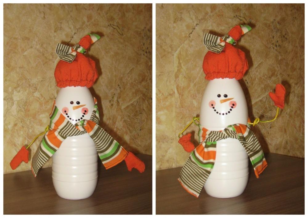 Снеговик своими руками из бутылки