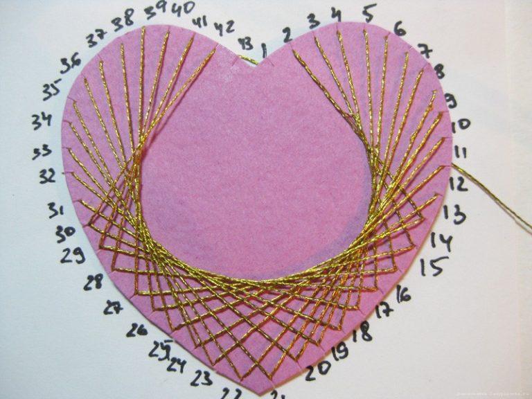 Как сделать сердечко из бумаги и ниток